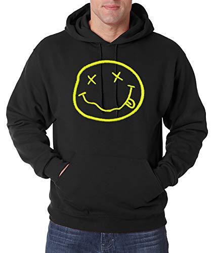 Urban Kingz Bestickter Herren Hoodie Kapuzenpullover Nirvana Smiley Stick Logo, Schwarz, Gr. S -