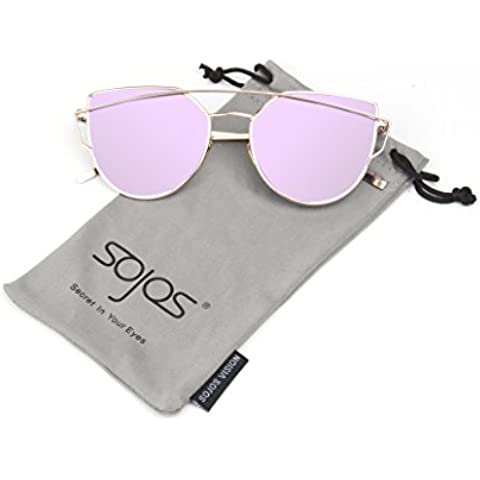 SojoS Gafas De Sol De Moda Marca Metal Para Mujer-Lentes Planos De Espejo- Con Estilo Ojo De Gato SJ1001