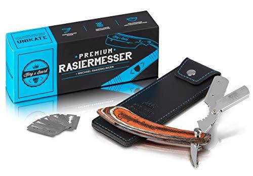 King's Beard Premium Rasiermesser + Klingen Zum Wechsel & Hochwertigem Leder-Etui, Bart-Rasierer Zur Optimalen Rasur | Der Klingen-Rasierer | Straight Razor Straight Edge Razor