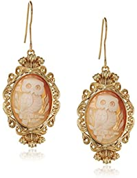 AMEDEO Hand Carved Cornelian Shell Cameo Featuring an Owl Earrings