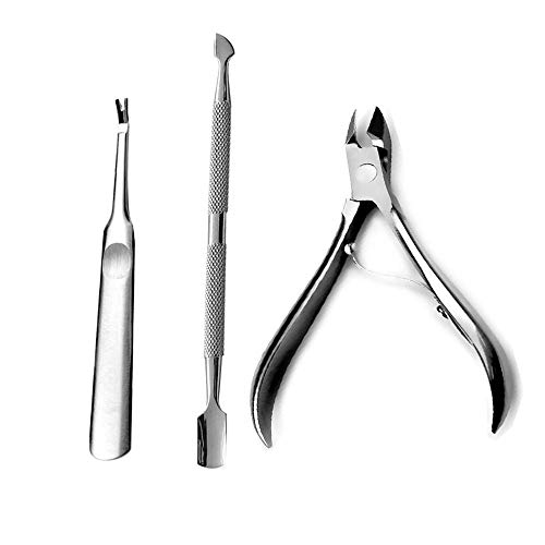 Bittb 3Pcs Stainless Nail Cuticle Pusher Remover Cutter Nipper Clipper Nail Art Tools Manicure Set Dead Skin Cuticle Scissors,Stainless Steel -