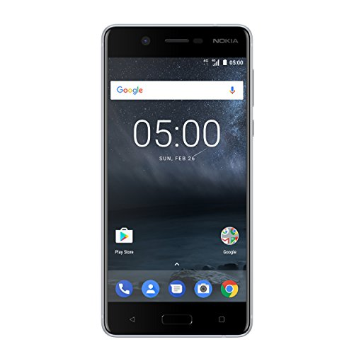 Nokia 5 Smartphone (13,2 cm (5,2 Zoll), 16GB, 13 Megapixel Kamera, Android 7.0, Single Sim) satin-silber/weiß, version 2017