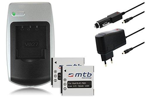 BUNDLE: 2 Akkus + Ladegerät für Kodak Klic 7001 – siehe Kompatibilitätsliste