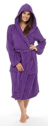 Insignia Ladies Dressing Gown Terry Towelling Spa Hotel 100% Cotton Robe (Medium, Plum Hooded)