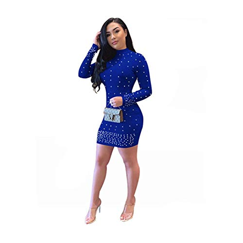 Fashion Women Long Sleeve Solid Color Beaded Bodycon Casual Party Mini Dress Royal Blue Regular -