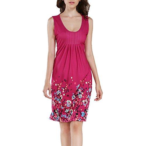 oboss Women's Summer Floral Printed Sleeveless Mini A-Line Dress Casual Loose Beach Dresses Sundress