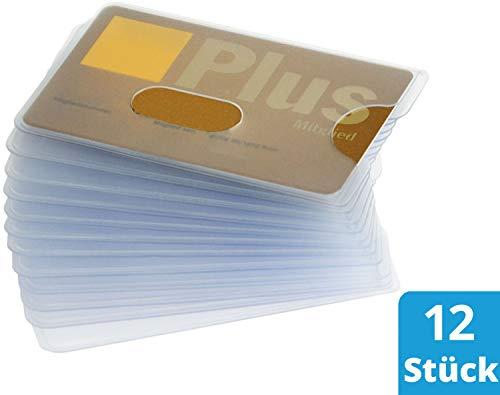 valonic Kreditkartenhülle, 12 Stück, matt transparent, hochwertig, Stabiler Kunststoff, EC, Scheckkartenhülle, Kartenhülle, Schutzhülle, Kreditkarte