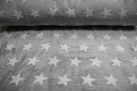 Tissu/au// pour enfants à partir de 25 cm, excellente qualité en polaire/kuschel- motif étoile polaire (gris