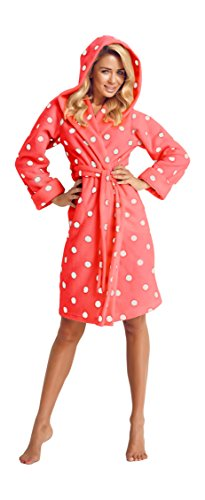 Wanmar Accappatoio Vestaglia Kimono Corta Pois Donna Cappuccio