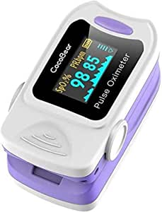 CocoBear - Pulsossimetro da dito, lettura istantanea ossimetro, misurazione della saturazione di ossigeno, regolazione silenziosa, allarme, 4 direzioni di rotazione (viola)