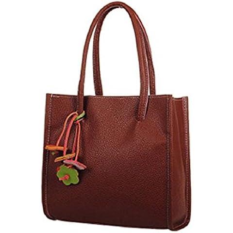 Tongshi Moda bolsos chicas elegantes de cuero bolso de color caramelo florece totalizador de las mujeres (Marrón)