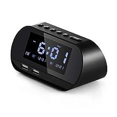 Idea Regalo - Aitsite Radiosveglia, FM Digitale Sveglia con Doppie Porte di ricarica USB, Doppio Allarme con 5 suoni di Allarme, 10 minuti Snooze, 6 Dimmer, Termometro, 12/24 ore, Batteria di Backup