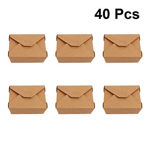 UPKOCH Kraftpapier Box Einweg Verpackung Zubehör für Lebensmittel Essen 40 Pcs
