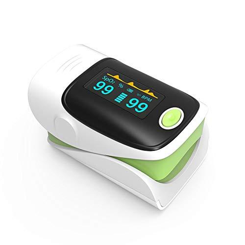 Fingerspitzenpuls Oximeter Sauerstoff-Sättemonat Pulse Rate Monitor mit Alarmfunktion OLED-Display für Erwachsene und Kinder, Grün