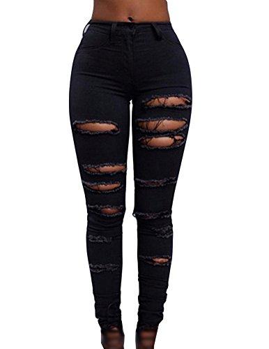 Donne Vita Alta Jeans Attillati Colore Solido Matita Pantaloni Fori Rotti Stirata Nero