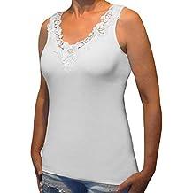 b7deede8f9e2d3 Toker Collection Hübsches Damen Unterhemd mit extra breiter Spitze in  versch. Farben