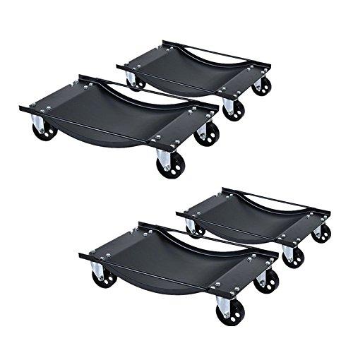 LARS360® 4 x Auto Rangierhilfe Rangierroller für PKW Auto Rangierwagenheber Rangierheber bis 450 kg pro