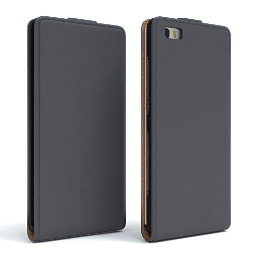 Huawei P8 Lite (2015) Hülle - EAZY CASE Premium Flip Case Handyhülle - Schutzhülle in Braun Anthrazit (Flip)