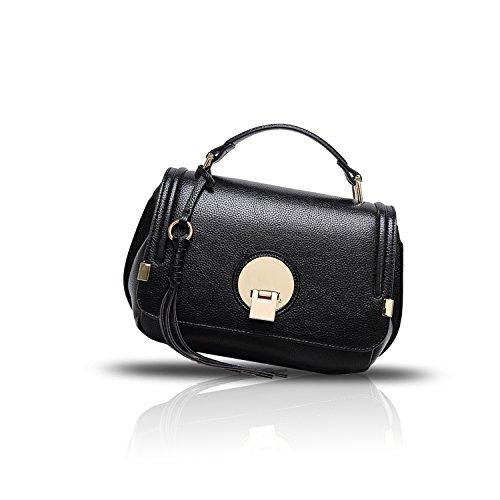 Sunas Borsa superiore della borsa del messaggero della borsa della copertura-tipo della borsa della borsa delle donne di estate 2017 nero