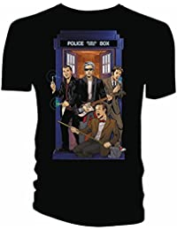 DOCTOR WHO Classic Mens T-Shirt 4 Doctors Band