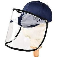 Rinder - Gorro de béisbol con protección para la cara, antisaliva, antiniebla, UV, con tapa extraíble, azul