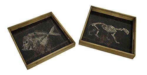 2stck-geschwrzt-folie-finish-fossil-motiv-dekorative-quadratisch-holz-tablett-set