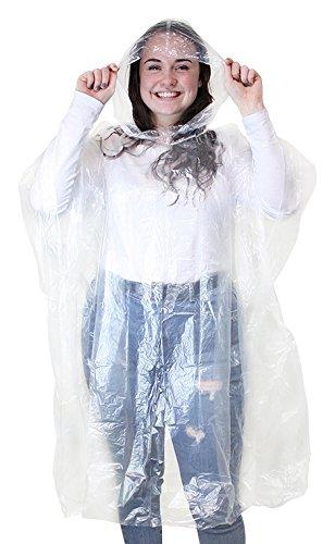 eBuyGB 10Stück Wasserdicht Regen Poncho, transparent, Einheitsgröße für Erwachsene XL durchsichtig (Erwachsene Mantel Regen Rosa Für)