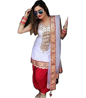 Sai creation silk Embroidered Unstitched Salwar Suit Dress material(durga puja_diwali_festival_special_saree_gown_dress_lehenga_salwar_style_free size_lehenga choli for women latest design)