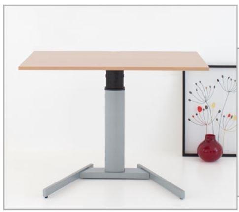 Conset Elektrisch Verstellbarer Mono Säulentisch Stehpult mit Tischplatte Buche-Optik