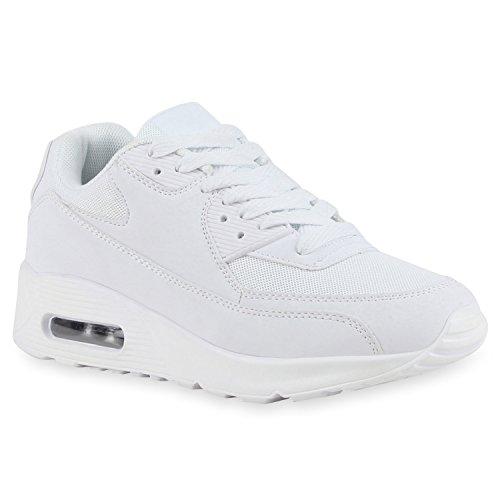 Trendige Unisex Lauf Damen Herren Kinder Sport Glitzer Camouflage Sneaker Bunt Schnür Sport Schuhe 115316 Total Weiss 38 | Flandell®