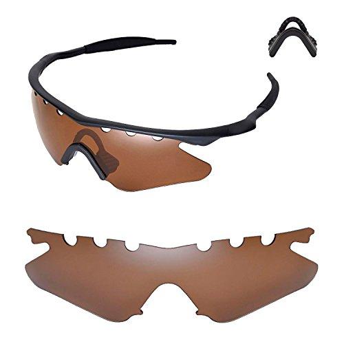 Walleva Entlüftete Ersatzlinsen oder Linsen mit schwarzem Nasenpolster für Oakley M Frame Heater Sonnenbrille - 20 Optionen (Braun Polarisierte Linsen + Nasenpolster)