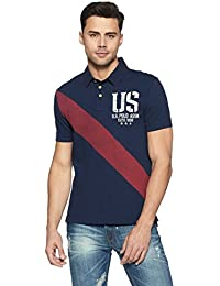 US Polo Association Men's Geometric Print Regular Fit Polo