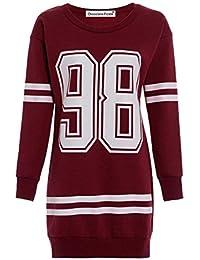 Neue Damen Anzahl 98 Baseball Stripe Langarm Thermische Sweatshirt Minikleid 36-50