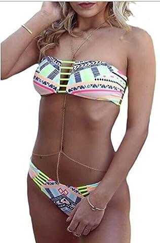 SunIfSnow Bikini - Maillot deux pièces - Tie-Dye - Sans Manche - Fille Vert Vert