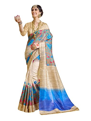 Saree (Saree For Women Party Wear Half Sarees Offer Designer Below 500 Rupees Latest Design Under 300 Combo Art Silk New Collection 2017 In Latest With Designer Blouse Beautiful For Women Party Wear Sadi Offer Sarees Collection Kanchipuram Bollywood Bhagalpuri Embroidered Free Size Georgette Sari Mirror Work Marriage Wear Replica Sarees Wedding Casual Design With Blouse Material) (Bhgto Blue)  available at amazon for Rs.399
