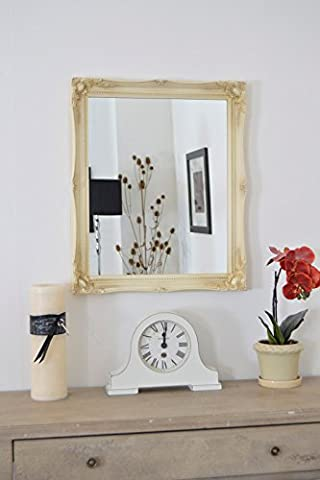 WARM CREAM (NOT a distressed antique finish) Shabby Chic Antique Style Rectangular Wall MIRROR complete with Premium Quality Pilkington's Glass - Overall Size: 20 inches x 24 inches (50cm x