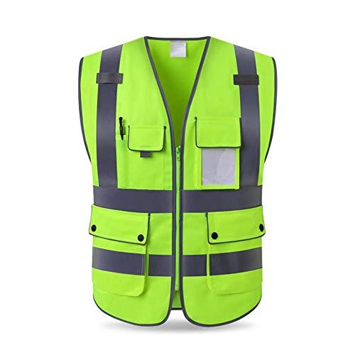 wisedwell Warnwesten Sicherheitsweste Unfallweste BAU Neongelb Reflektierend Unisex Hohe Sichtbarkeit mit Multi Taschen