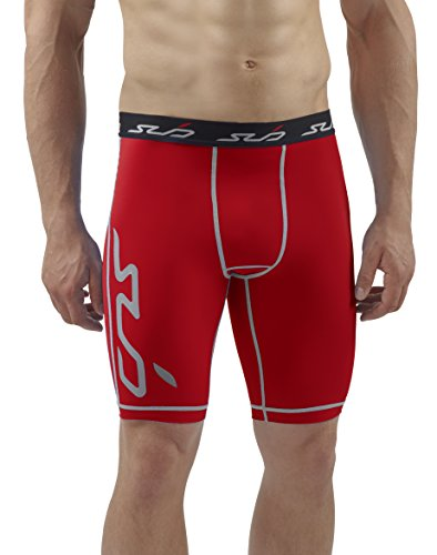 Sub Sports Herren Dual Kompressionsshorts Funktionswäsche Base Layer Hose kurz Rot, XXL - Tights Base Layer Shorts