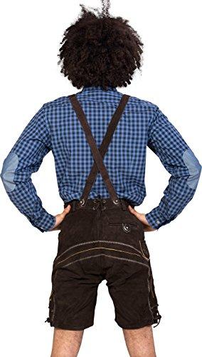 Almwerk Herren Trachten Lederhose kurz Modell Sepp in schwarz, braun und hellbraun, Farbe:Braun;Größe Herren:56 -