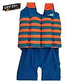 Kinder-Schwimmanzug, Baby Junge Mädchen Sonnenschutz Schwimmend Bademode mit Regulierbarem Auftrieb, UPF 50+ (Orange Streifen, S