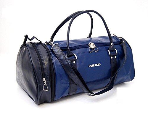 Preisvergleich Produktbild funkytravelbags New Herren Damen Denim Head Retro Monte Carlo Leder Look Sport Gym Reisetasche