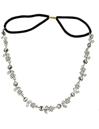 Chooseberry Silver Plated Hair Accessories For Women Adjustable Crystal Hair Bands For Women Party Wear Hair Chain...