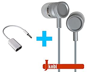 Value Combo Of Metal Body Volume Control Earphone Handsfree and Splitter Cable Compatible For Yu YU5200 -Silver