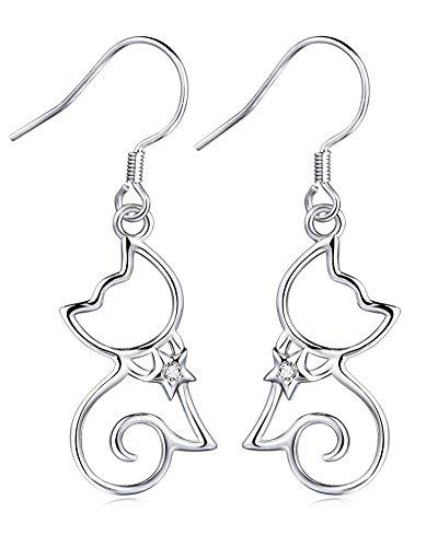 Sterling Silber klassisch elegante Kitty-Katze mit Stern-Kragen baumeln Ohrringe (Silber-katze-kragen)