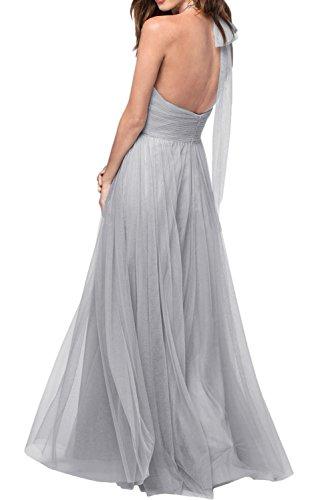 Promgirl House Damen Schick Tuell Satin A-Linie Neckholder Lang Cocktail Partykleider Brautjungkleid Ballkleider Abendkleider Lang Lavendel