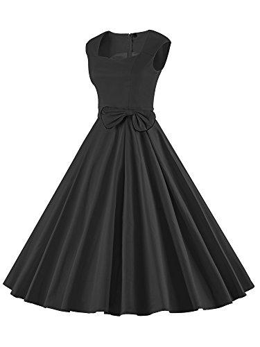 ILover Frauen 1950er Style Retro Rockabilly Schwingen Bogenknoten-Partei-Kleid V024-Black
