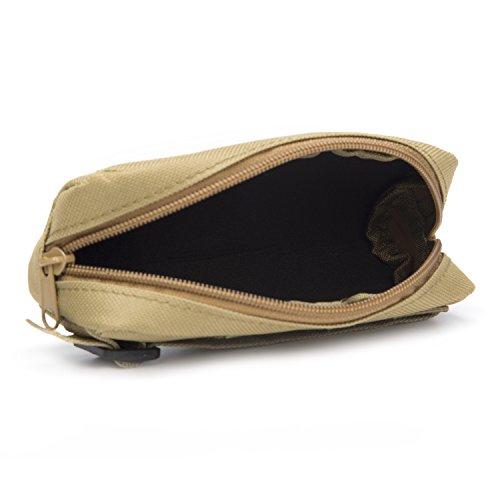 Huntvp Tactische Brillenetui Militärische Brillenbeutel Gläser Bag MOLLE Zubehörtasche Sonnenbrille Halter Multifunktionale Gürteltasche Hüfttasche für Walking Camping Trekking Dunkel Braun