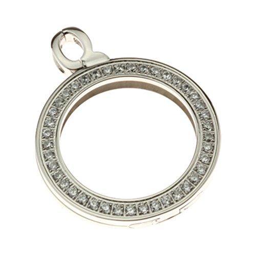 Quoin Damen-Münzfassung Rahmen für Münzen Größe: L Edelstahl Zirkonia weiß - QHO-06L-E