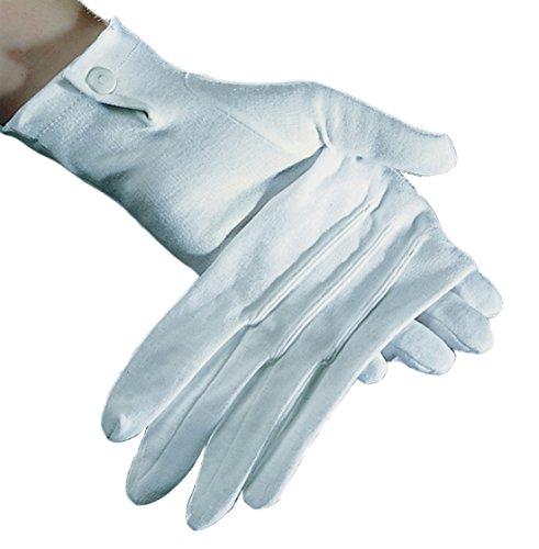 Baumwoll-Handschuhe weiß mit Druckknopf und Biesen, L (Herren)