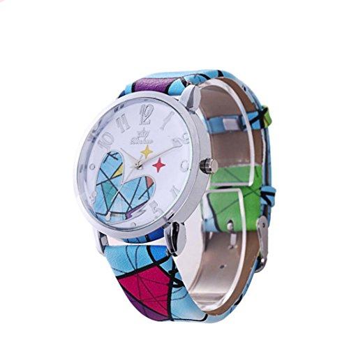 Vovotrade Banda de cuero de moda amor patron cuarzo analogico reloj de pulsera de moda,Azul claro